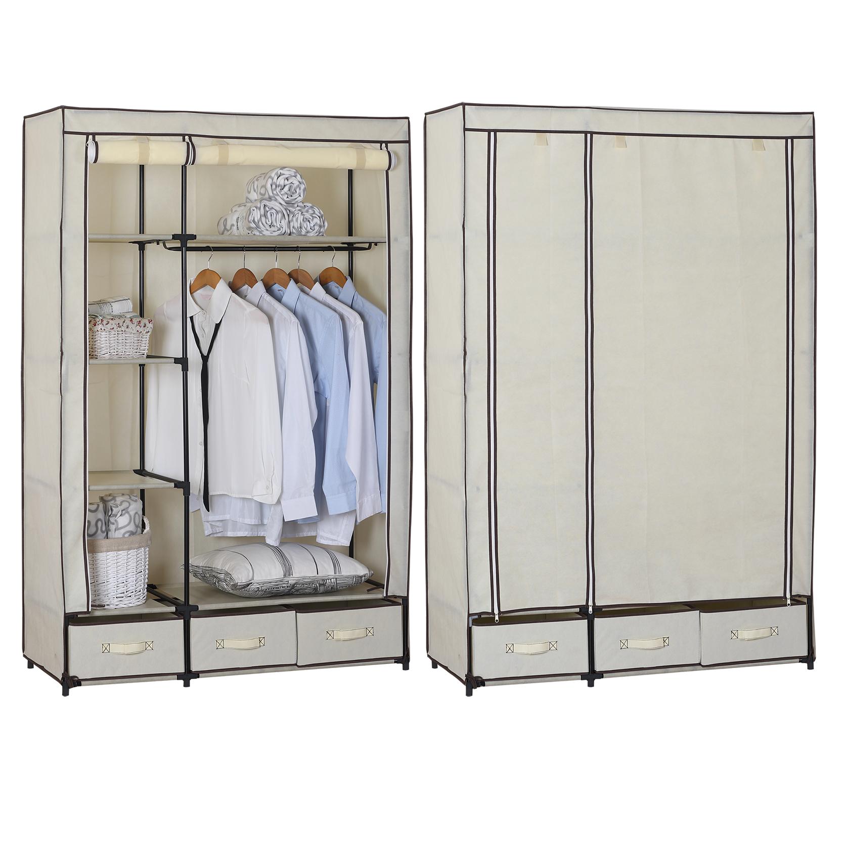 kleiderschrank garderobenschrank campingschrank faltschrank stoff creme ss5027cm ebay. Black Bedroom Furniture Sets. Home Design Ideas