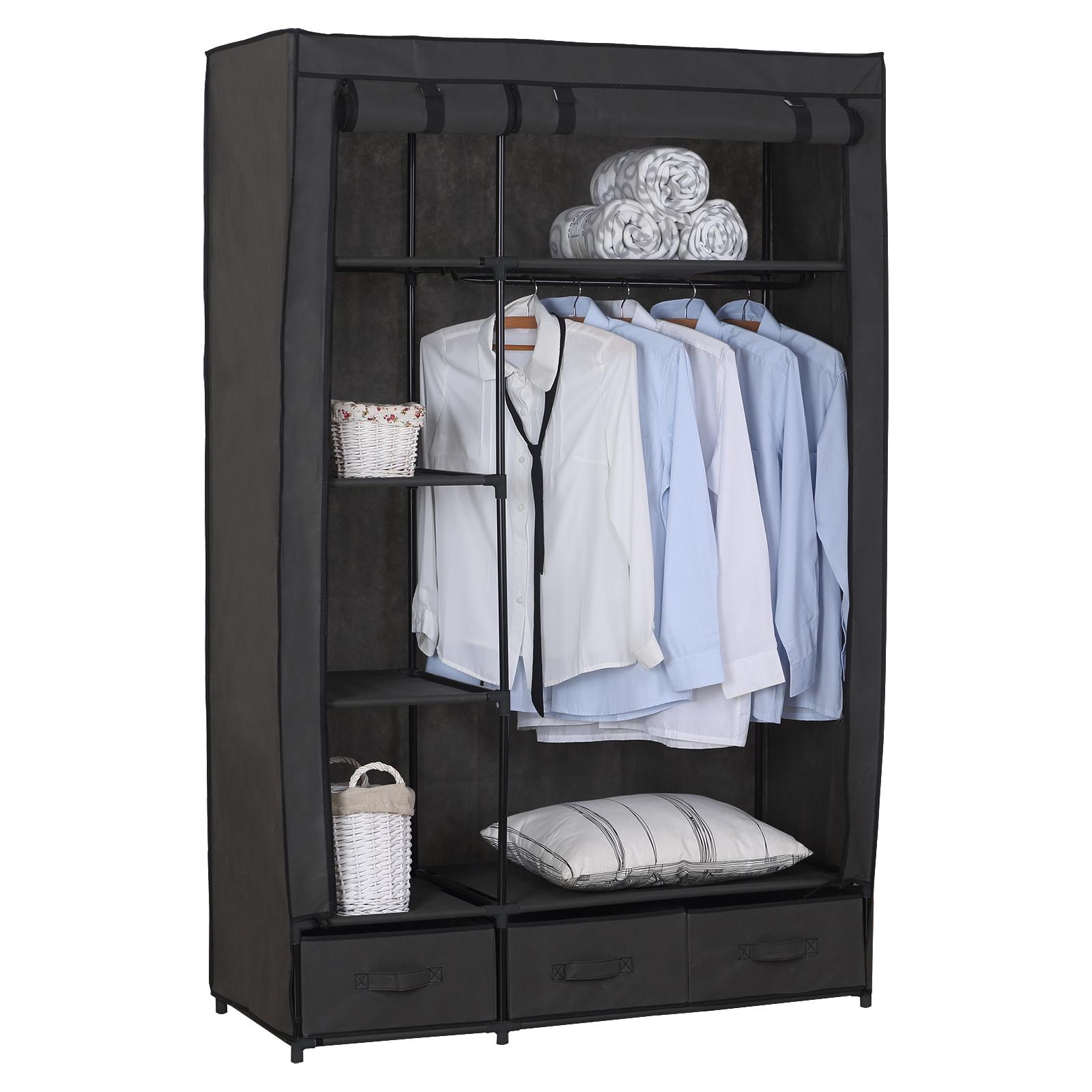 kleiderschrank garderobenschrank faltschrank camping stoff xxl klein grau 173 2 ebay. Black Bedroom Furniture Sets. Home Design Ideas