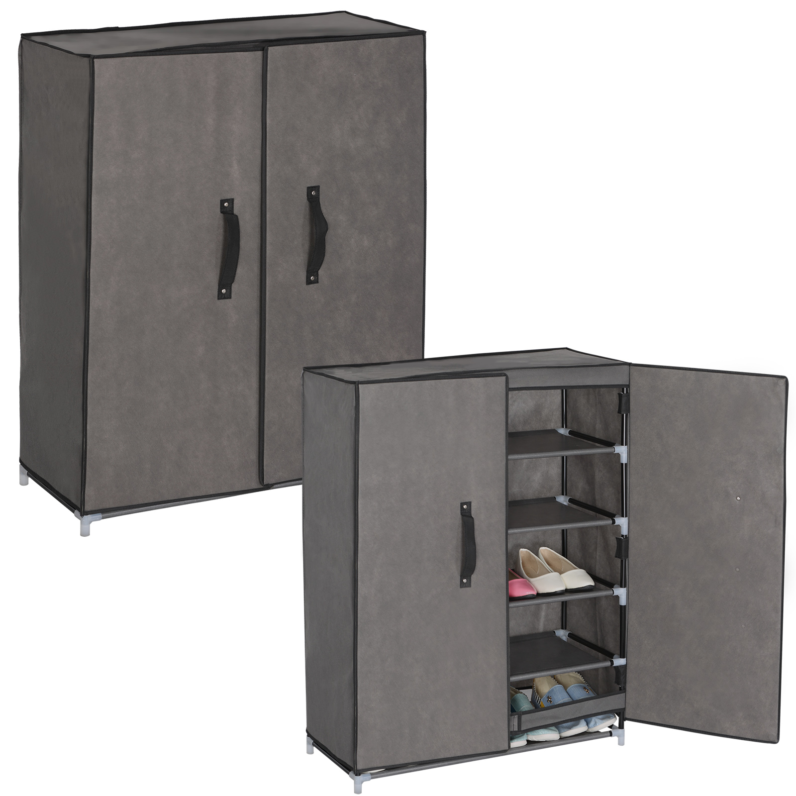 schuhschrank stoff textil mit fl gelt r faltschrank 5. Black Bedroom Furniture Sets. Home Design Ideas