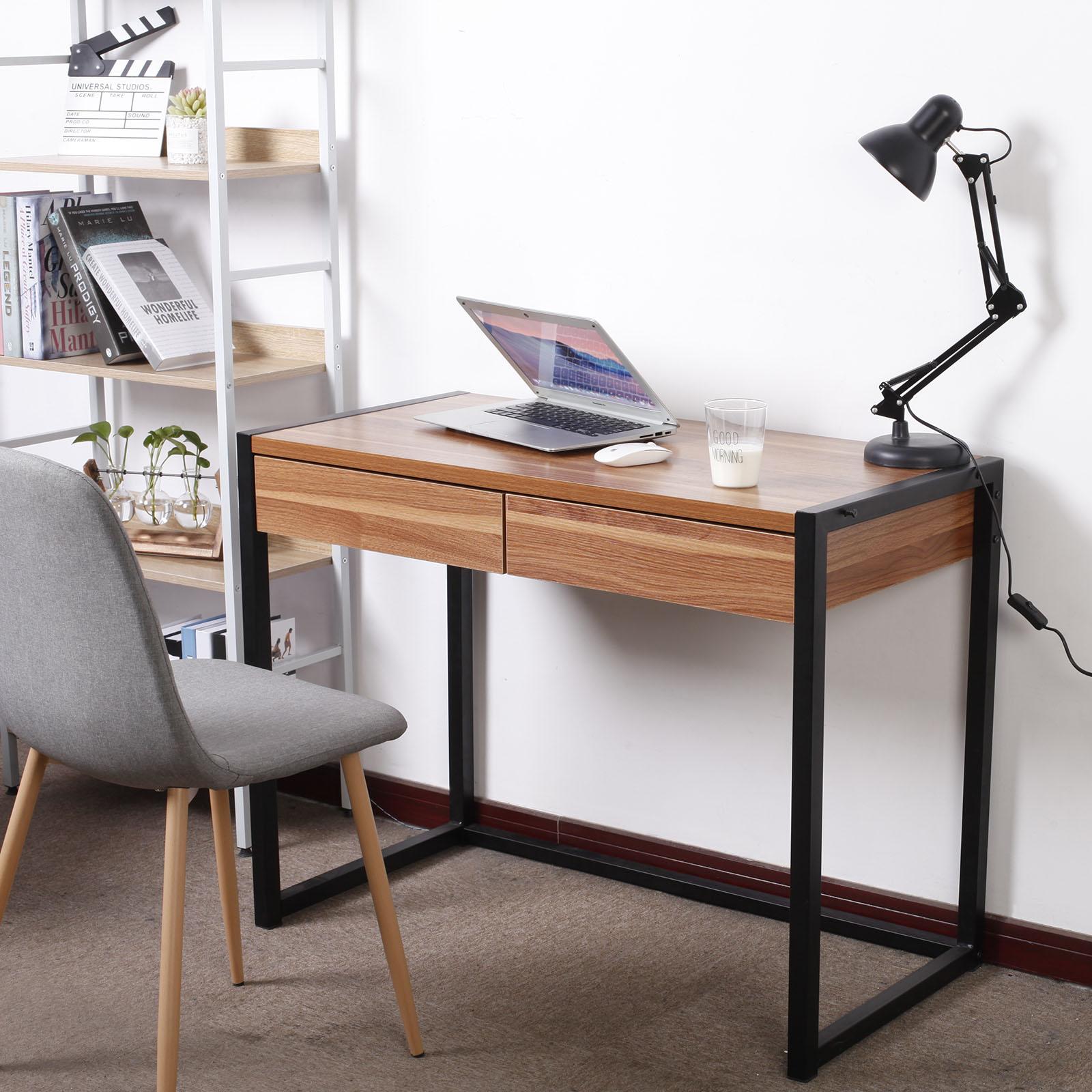 schreibtisch computertisch b rotisch tisch mit 2 schubladen holz stahl tsg27dc ebay. Black Bedroom Furniture Sets. Home Design Ideas