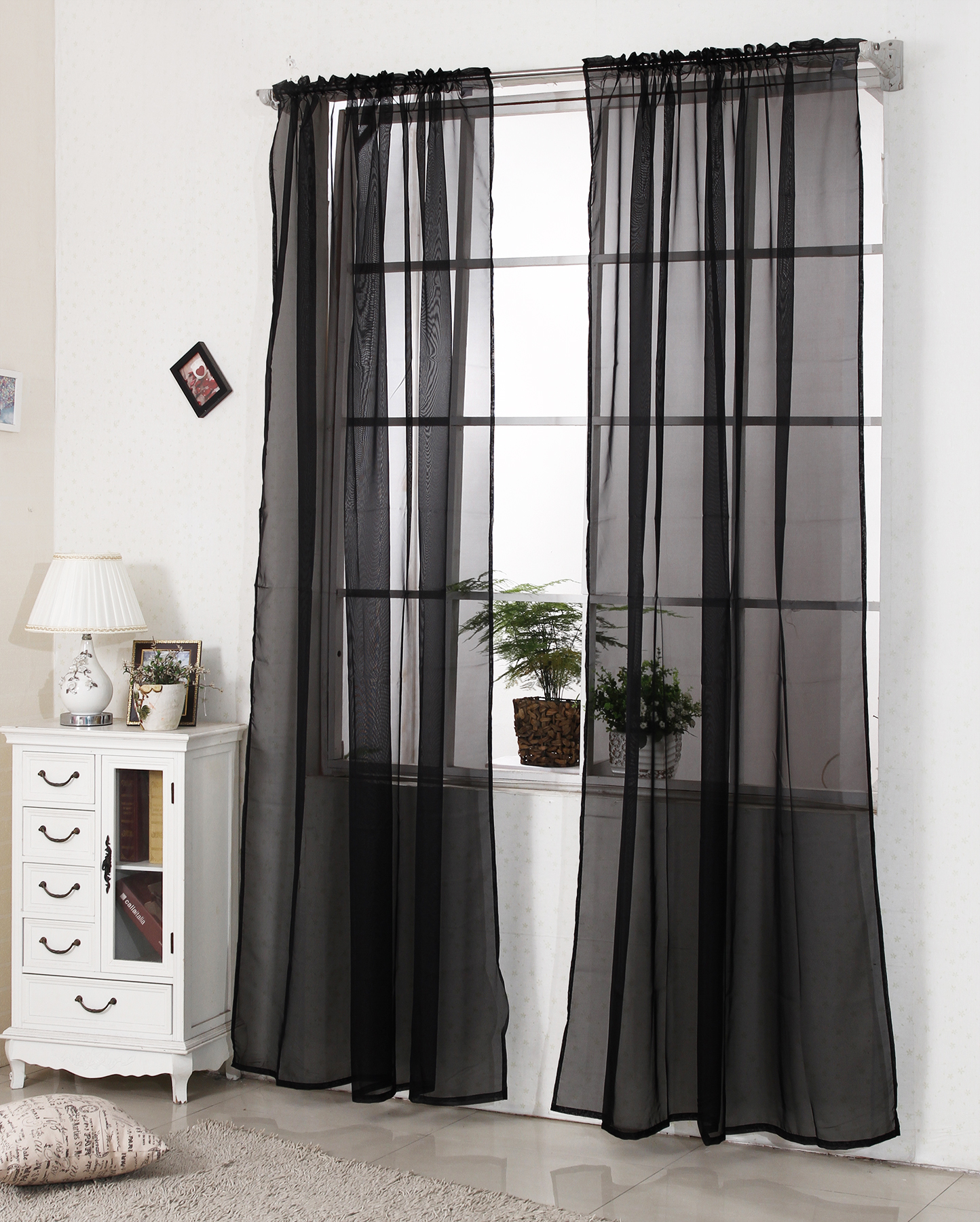 gardinen vorhang transparent senschal kr uselband dekoschal fenster stores 307. Black Bedroom Furniture Sets. Home Design Ideas