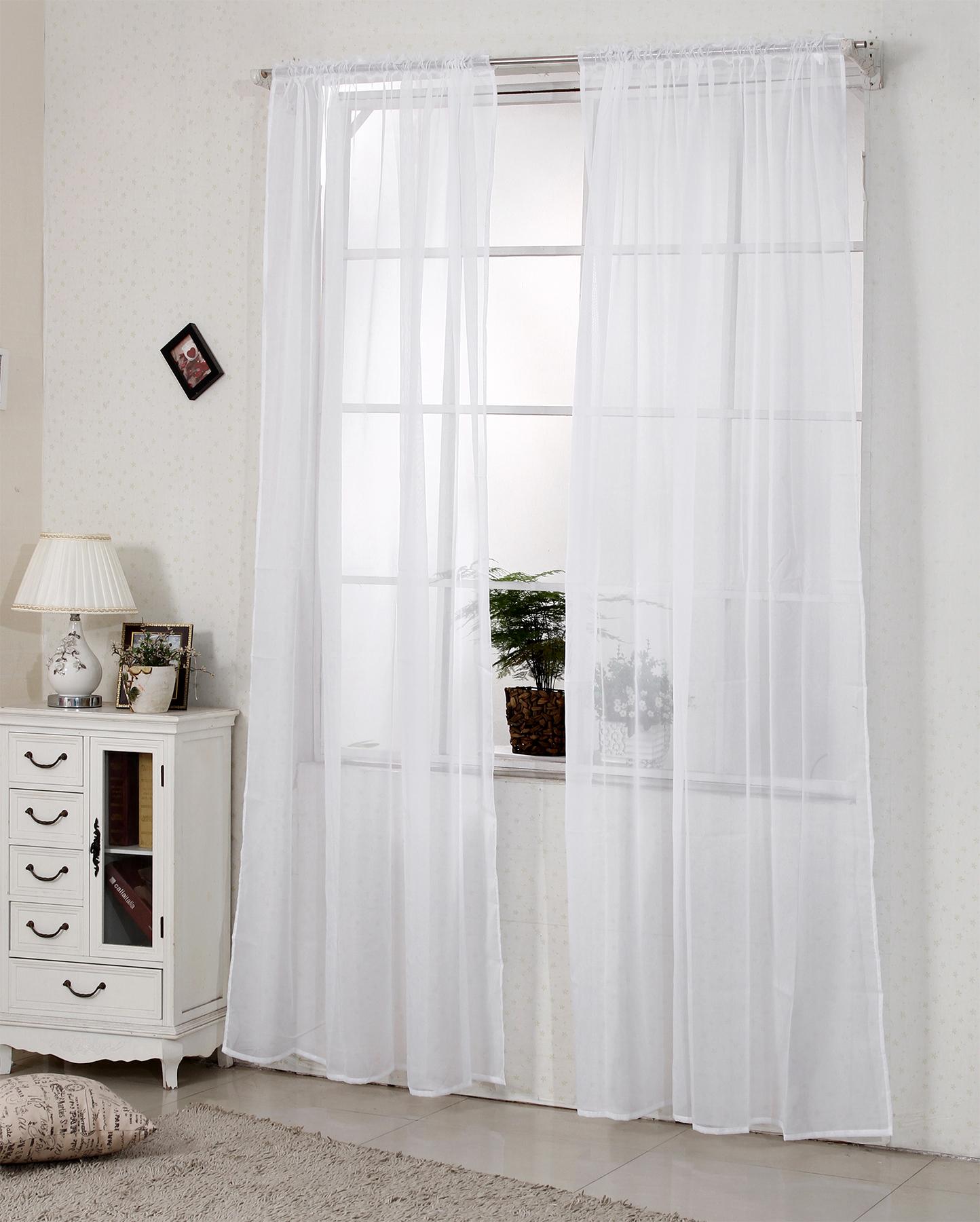 2x Gardine Vorhang Transparent Dekoschal Kräuselband 140x225cm Weiß