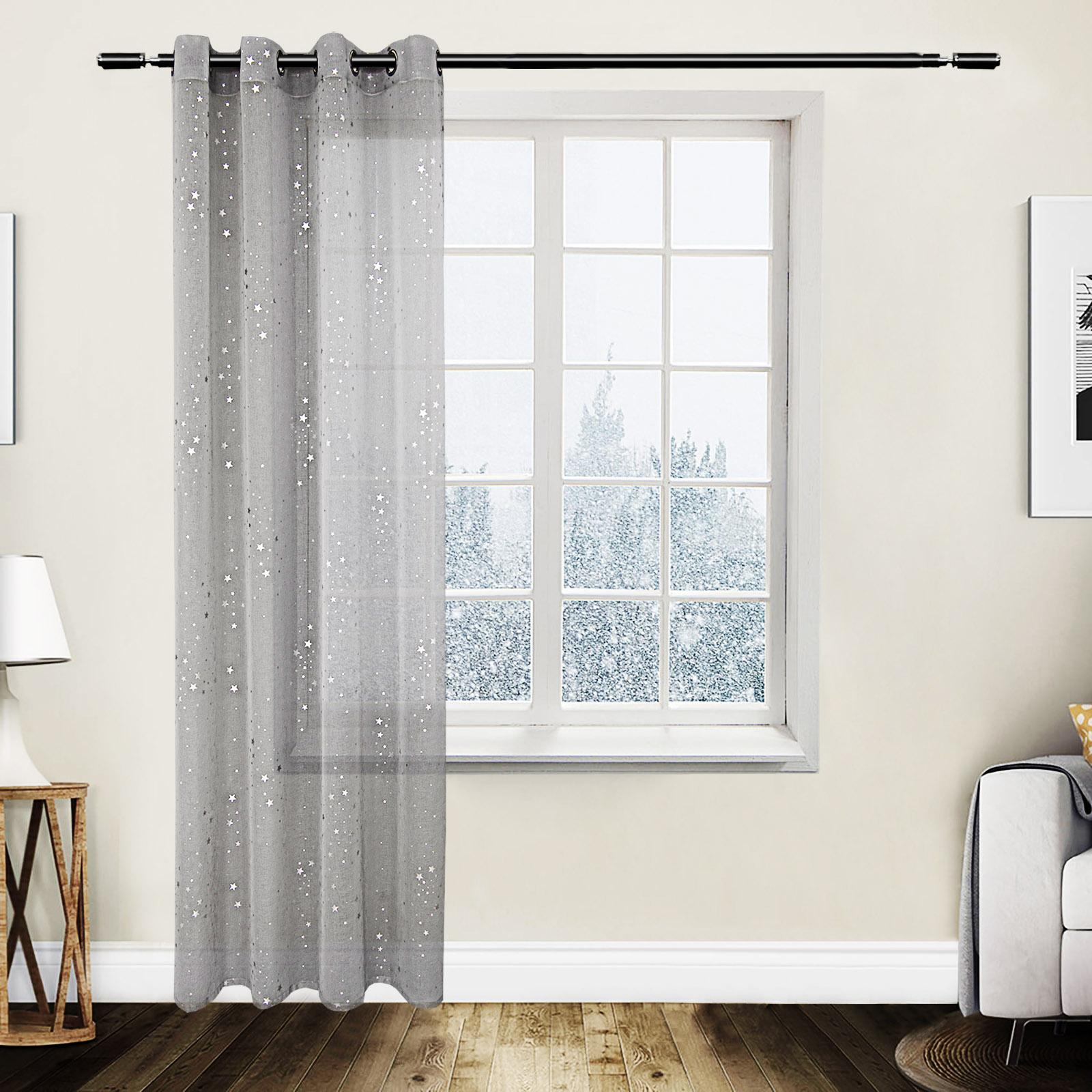 gardinen transparent sen vorhang schal stores leinenoptik sternen muster 961 ebay. Black Bedroom Furniture Sets. Home Design Ideas