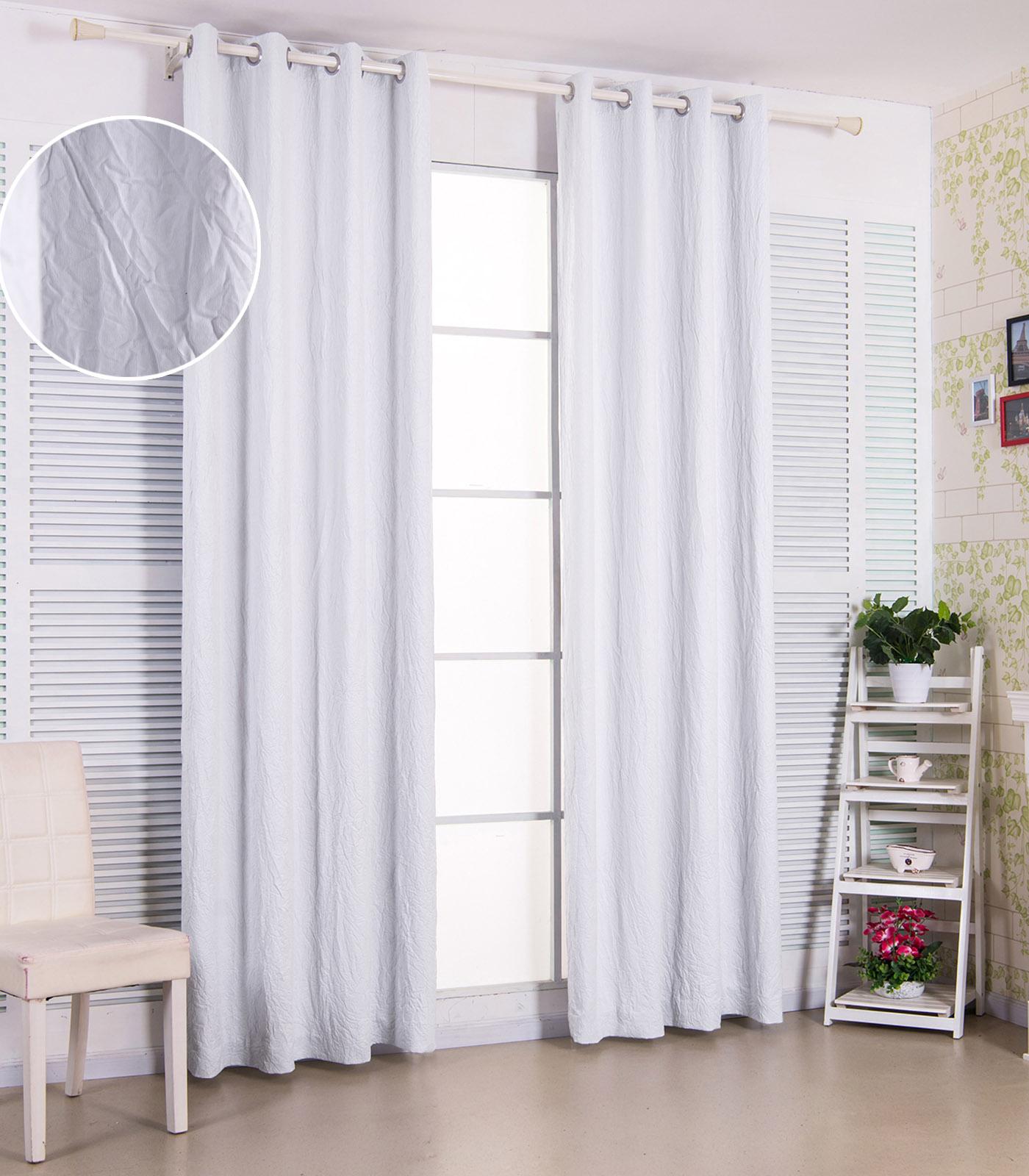 2x gardinen vorh nge blickdicht sen verdunkelung 135x225cm wei crush vh5851ws2 ebay. Black Bedroom Furniture Sets. Home Design Ideas