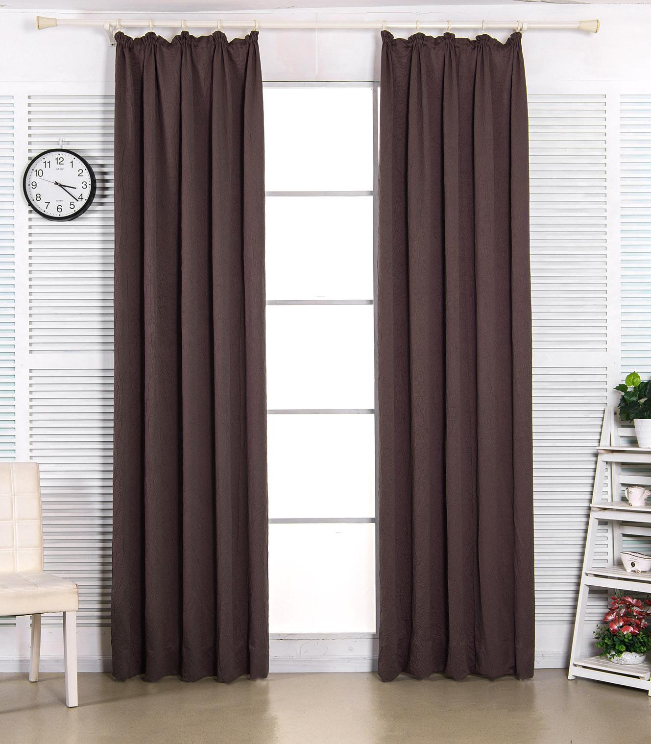 2er set gardinen vorh nge blickdicht kr uselband 135x245cm braun crush vh5852br3 ebay. Black Bedroom Furniture Sets. Home Design Ideas