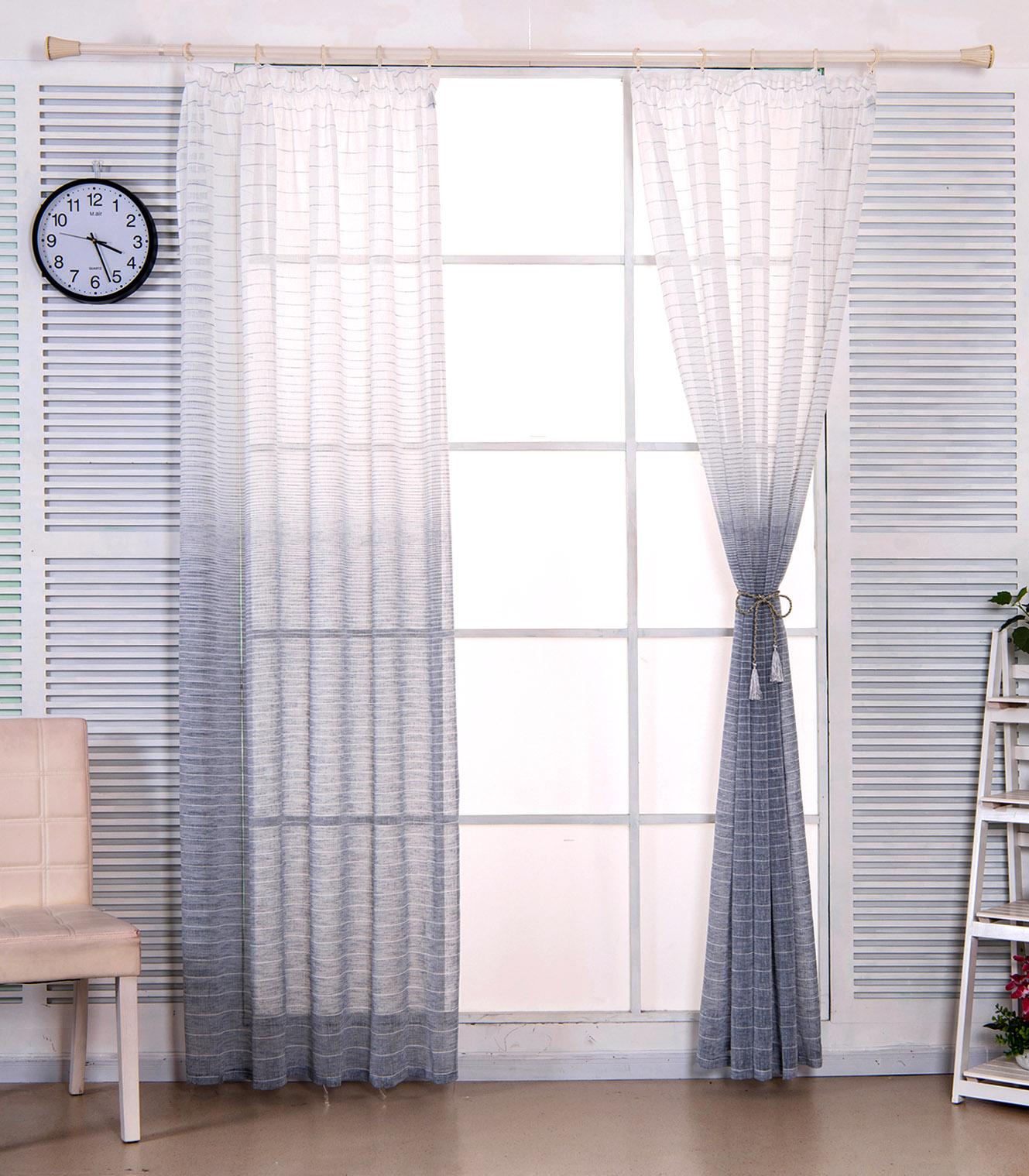 2x Gardinen Vorhang transparent Kräuselband gestreift Leinen ...