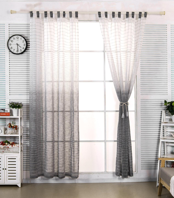 2x Gardinen Vorhang transparent Schlaufen gestreift Leinen 140x245cm ...