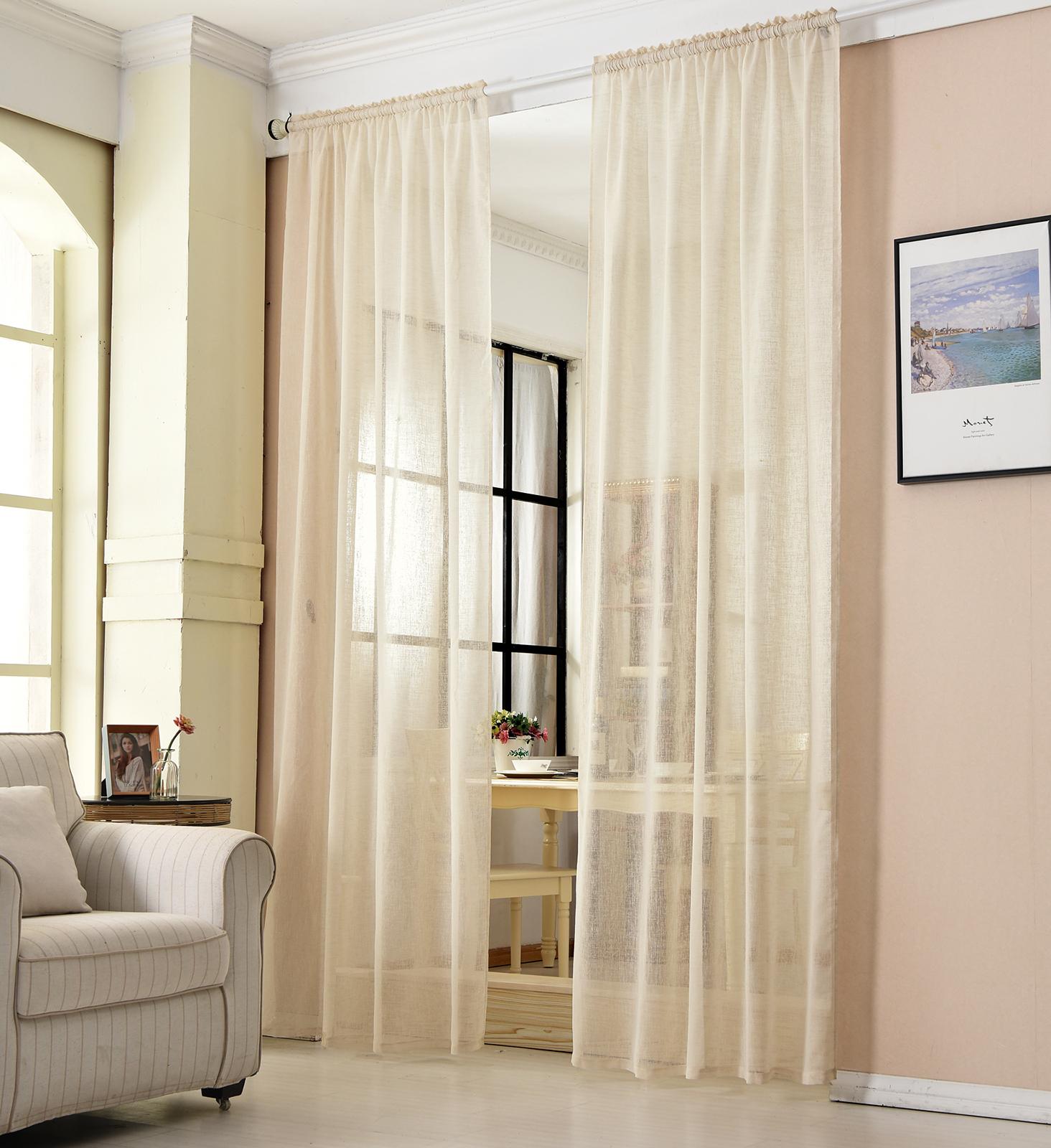 gardinen stores kr uselband vorhang transparent schal voile leinen optik 630 ebay. Black Bedroom Furniture Sets. Home Design Ideas