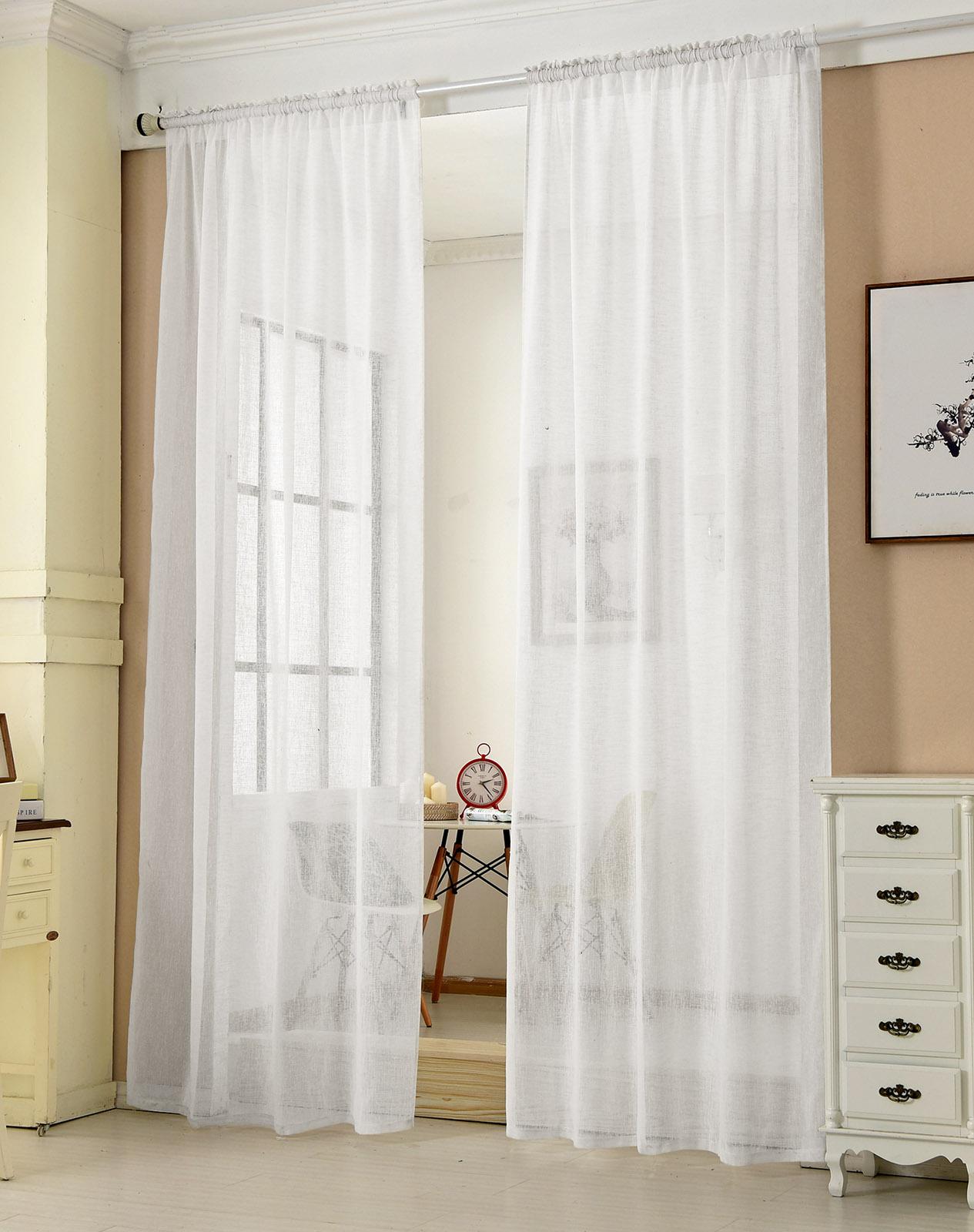 2x gardine kr uselband transparent leinenoptik dekoschal 140x225 wei vh5860ws 2 ebay. Black Bedroom Furniture Sets. Home Design Ideas