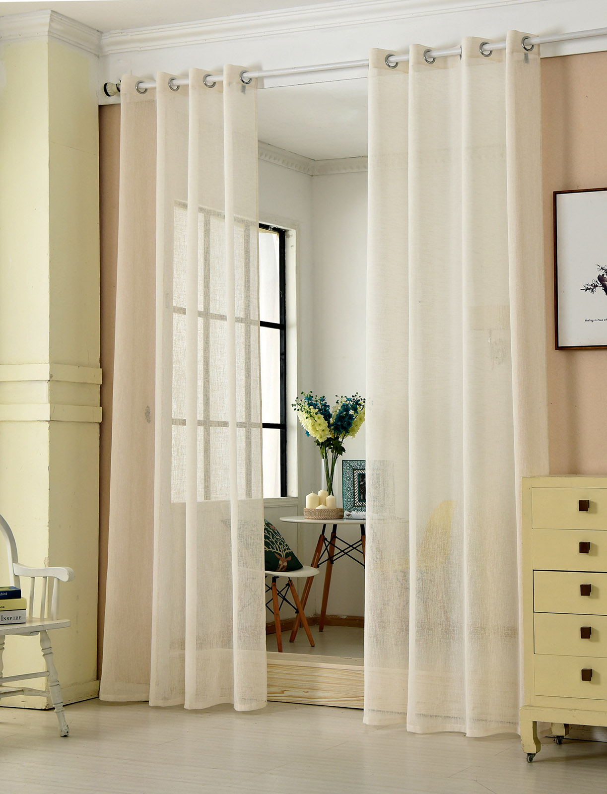 2x gardine senschal transparent mit sen leinenoptik 140x175cm creme vh5857cm 2 ebay. Black Bedroom Furniture Sets. Home Design Ideas