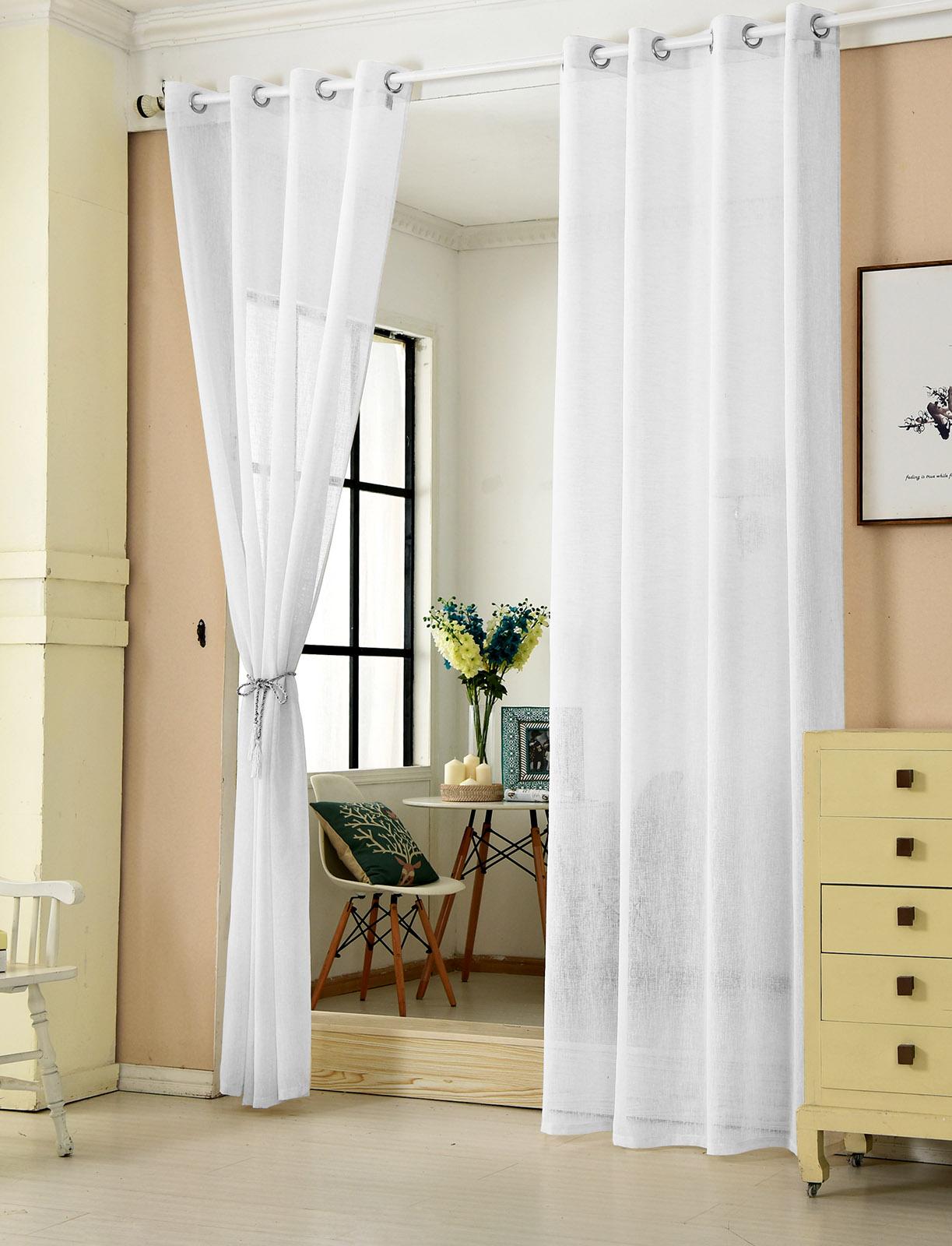 gardinen vorh nge stores transparent senschal dekoschal voile leinen optik 631 ebay. Black Bedroom Furniture Sets. Home Design Ideas