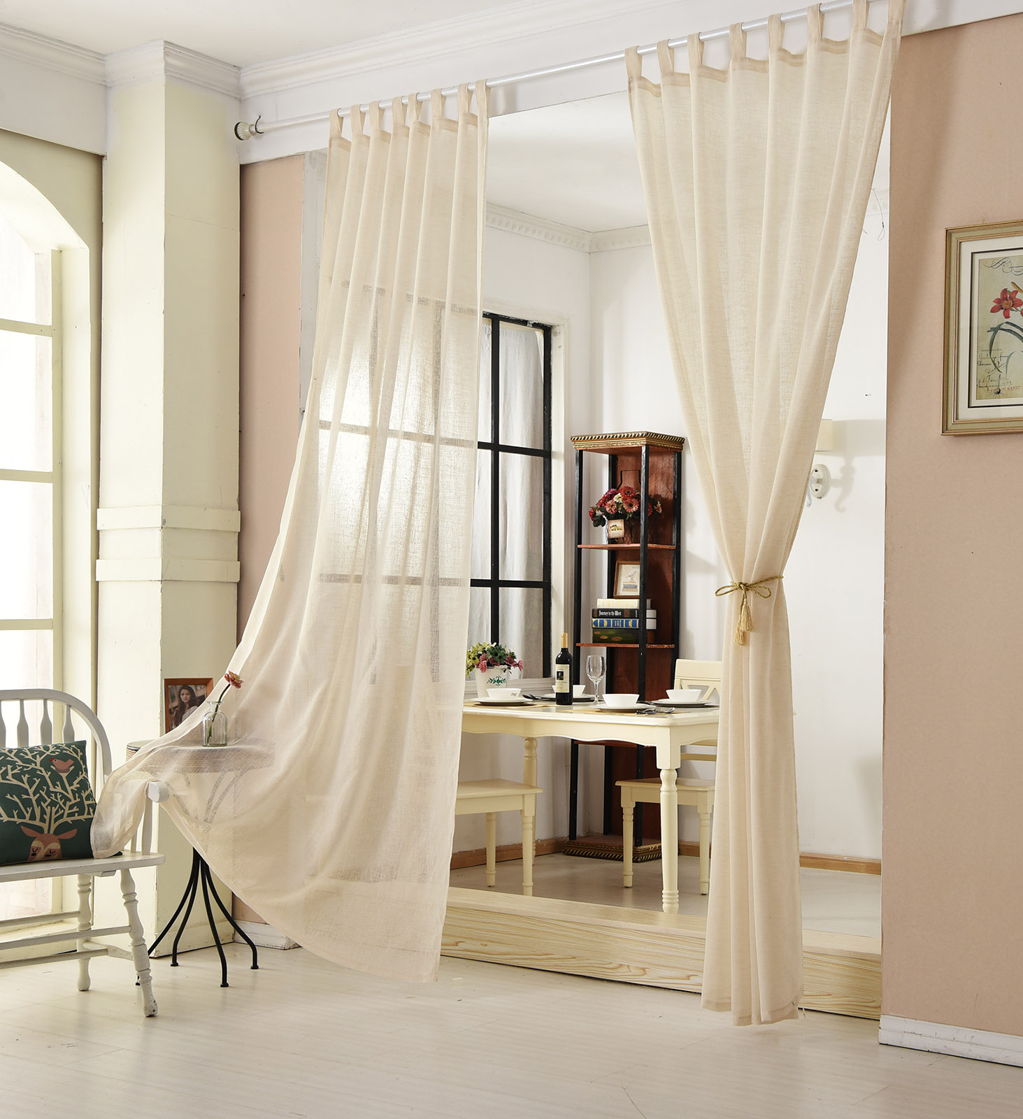 gardinen stores transparent leinen optik schlaufenschal vorhang schal voile 632 ebay. Black Bedroom Furniture Sets. Home Design Ideas