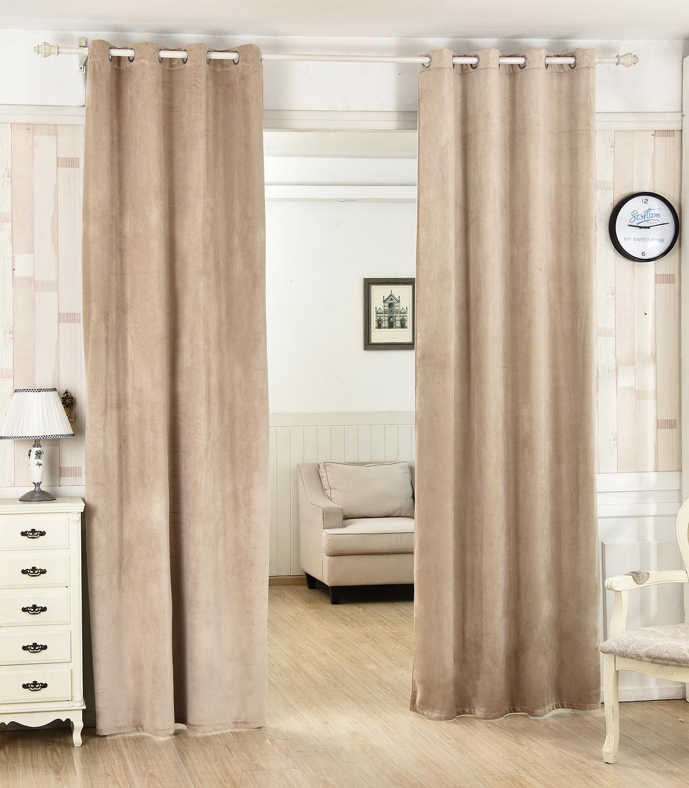 2er set gardinen thermovorhang blickdicht sen beflockt 135x175 khaki vh5873kk 2 ebay. Black Bedroom Furniture Sets. Home Design Ideas