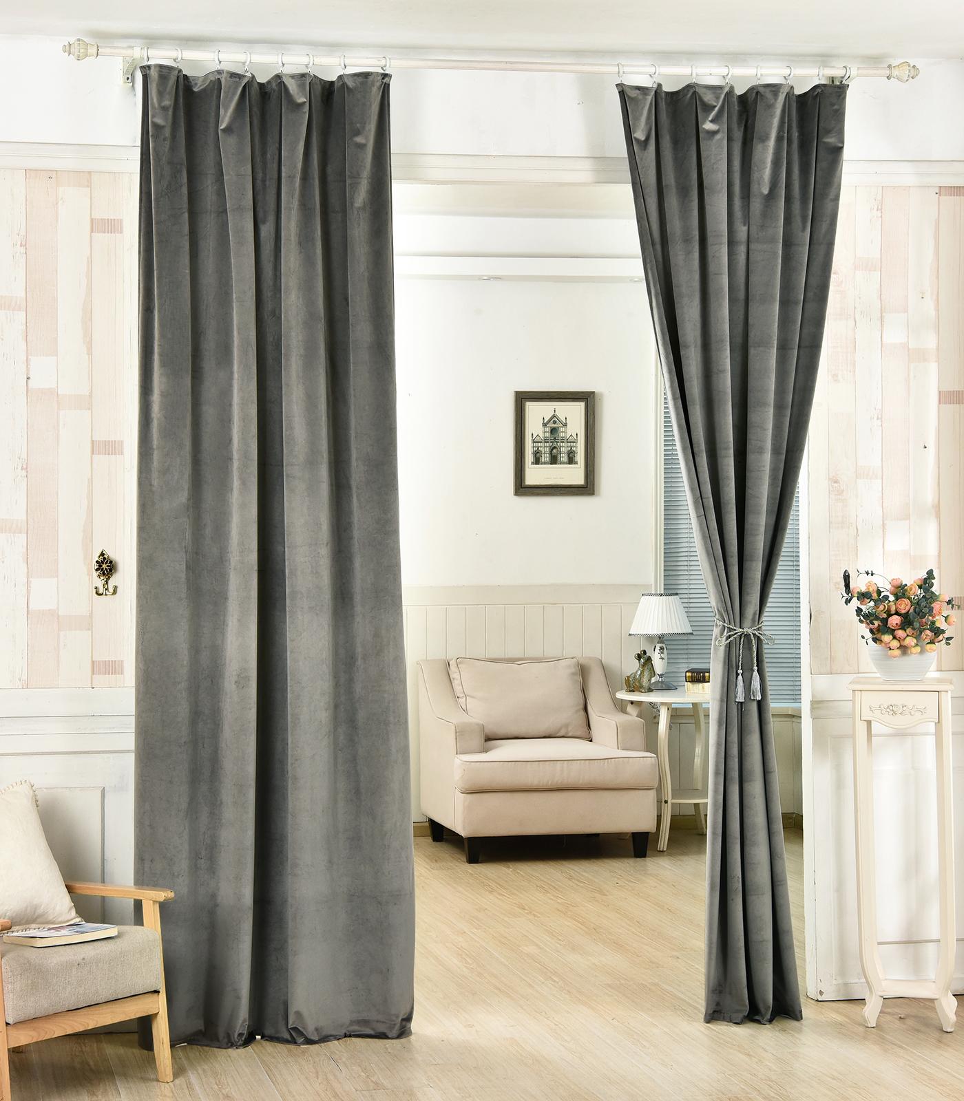 gardinen 2er thermo blickdicht kr usel beflockte 135x245 dunkelgrau vh5874dgr 2 ebay. Black Bedroom Furniture Sets. Home Design Ideas