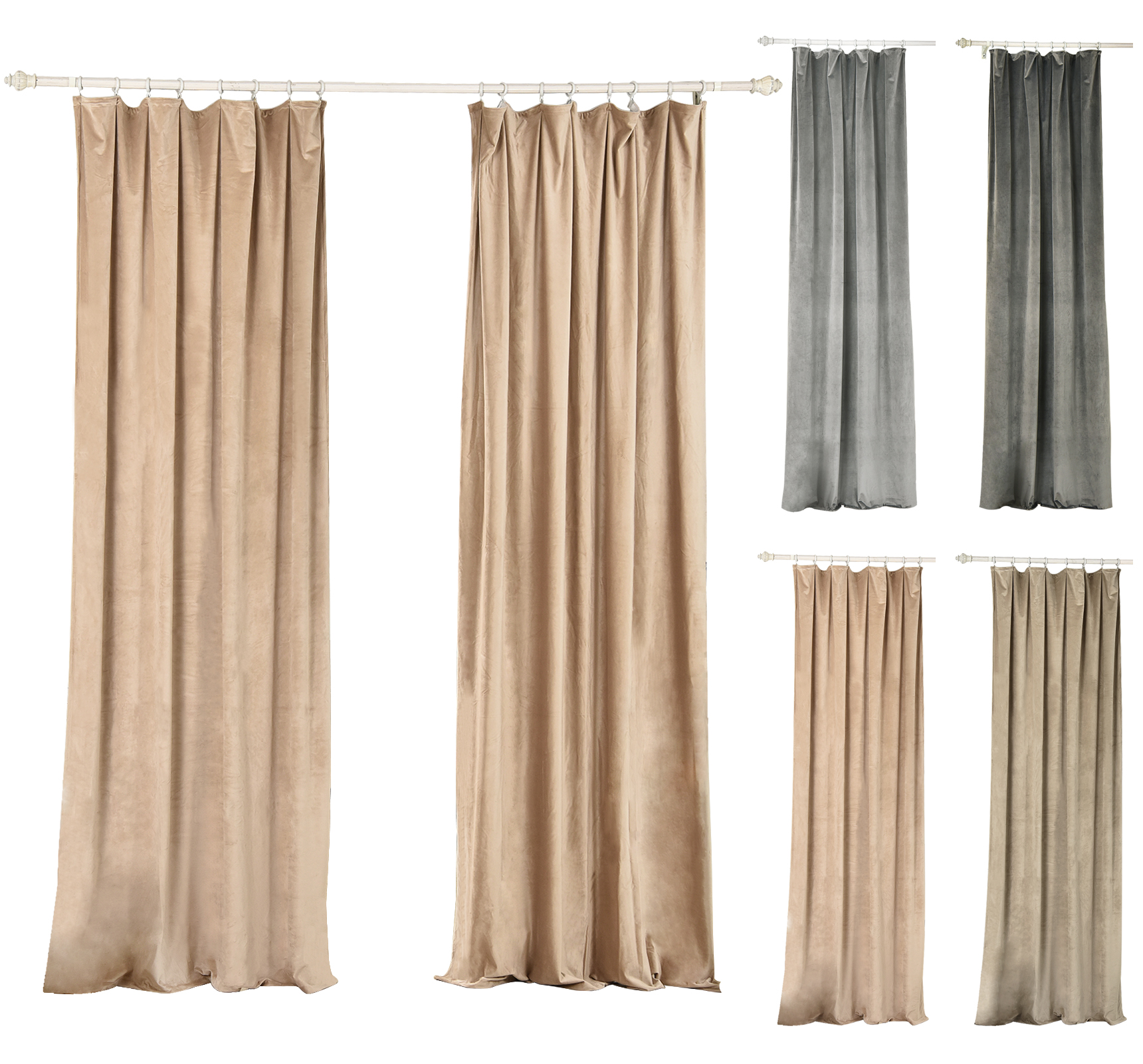 gardinen blickdicht kr uselband beflockte verdunklungsvorhang thermogardine 491 ebay. Black Bedroom Furniture Sets. Home Design Ideas