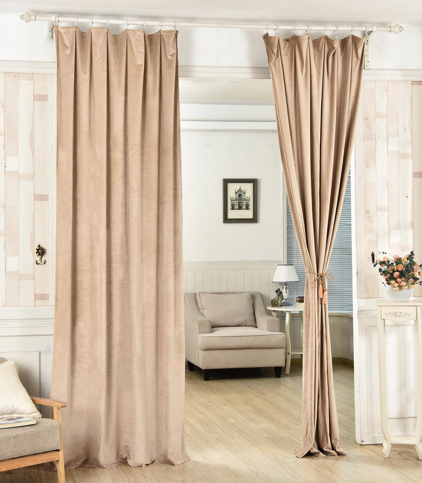 2er gardinen blickdicht thermo kr uselband beflockte 135x245 khaki vh5874kk 2 ebay. Black Bedroom Furniture Sets. Home Design Ideas