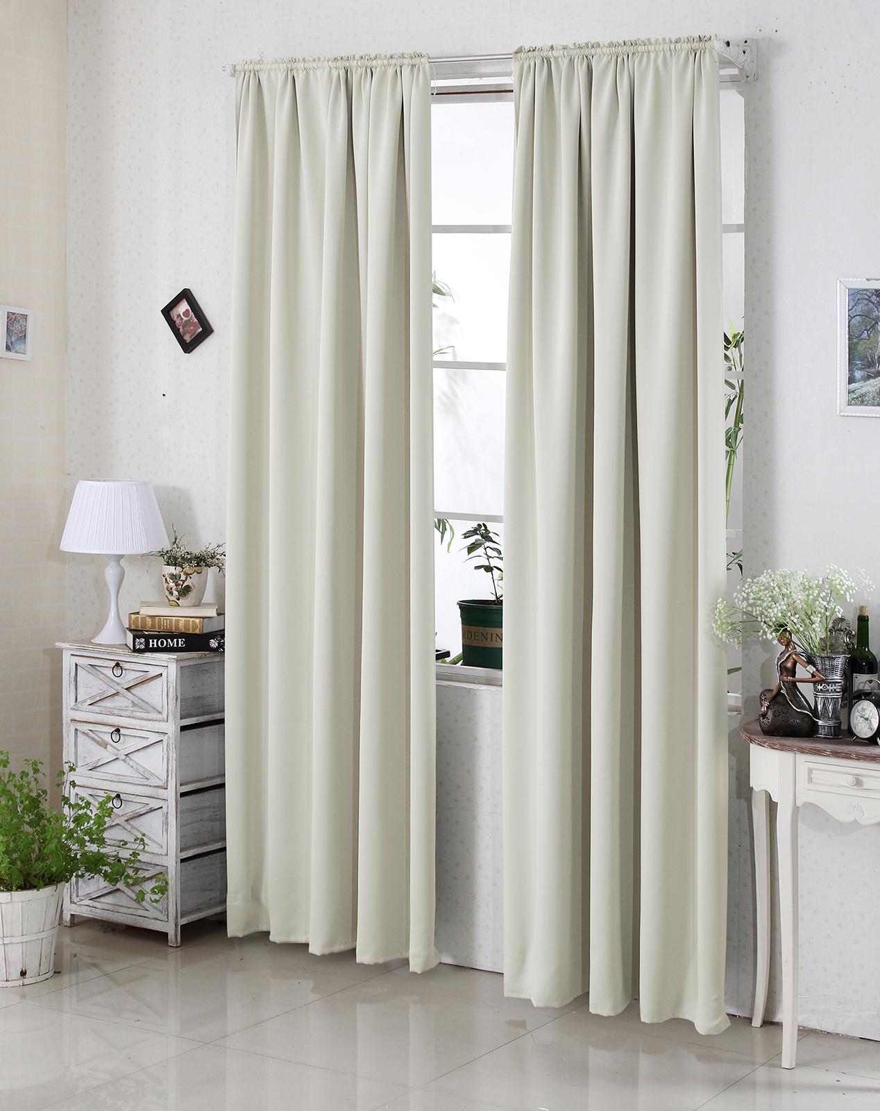 gardine blickdicht 2er thermo vorhang kr uselband 135x245cm beige vh5880be 2 ebay. Black Bedroom Furniture Sets. Home Design Ideas