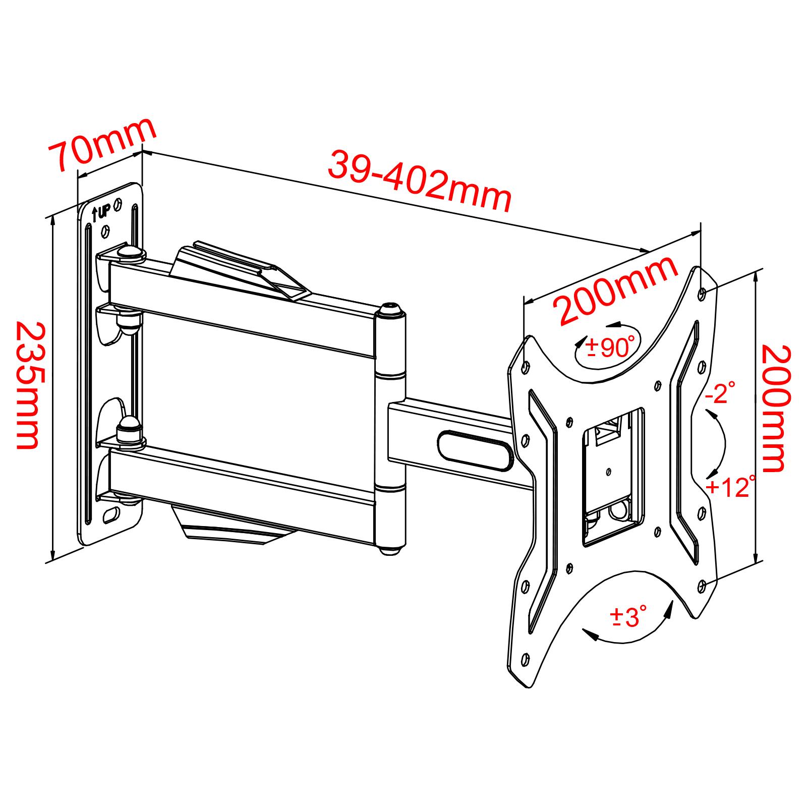 tv led fernseher wandhalterung halterung schwenkbar neigbar 14 42 zoll wh8502 ebay. Black Bedroom Furniture Sets. Home Design Ideas