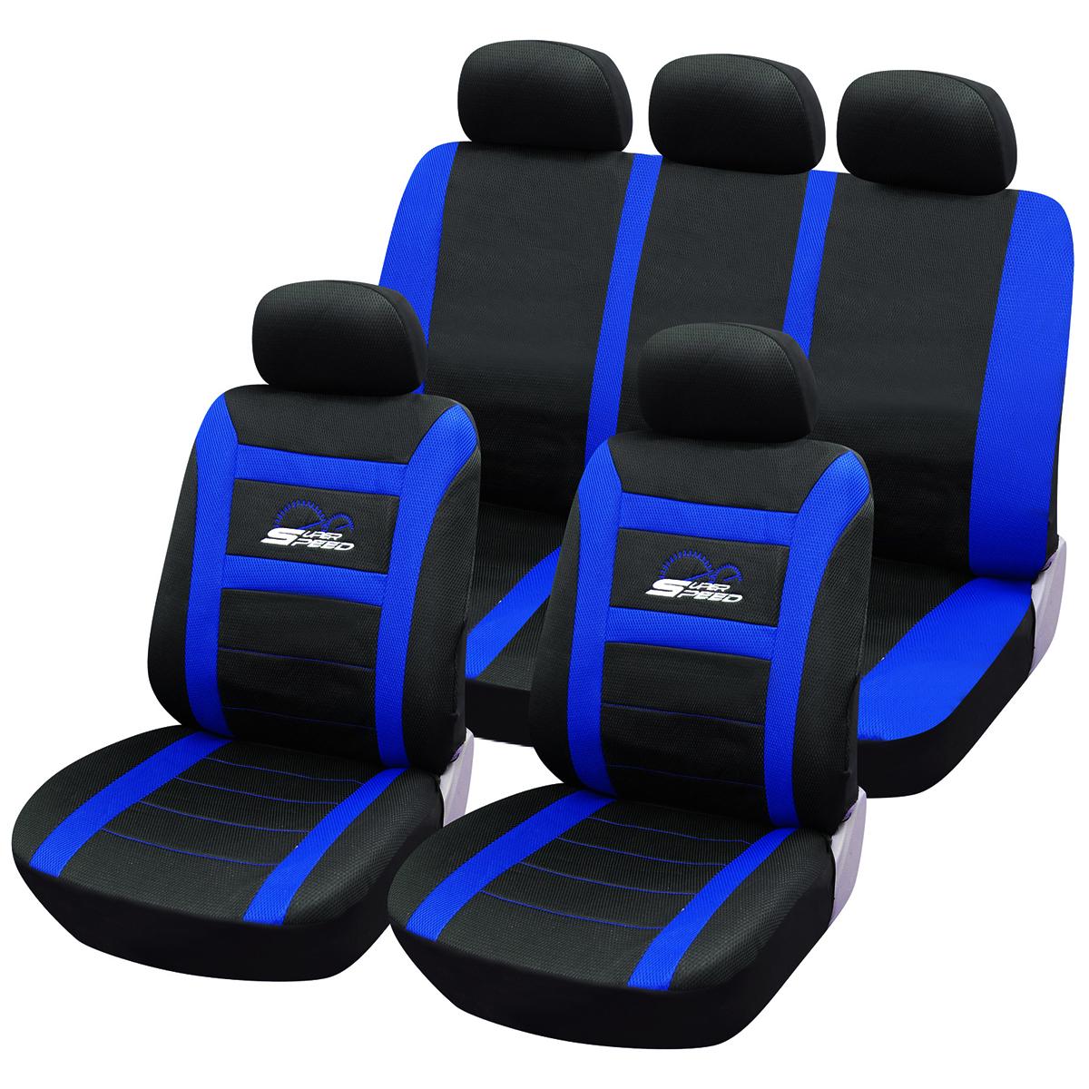 auto sitzbez ge sitzbezug schoner f r pkw ohne seitenairbag schwarz blau as7260 ebay. Black Bedroom Furniture Sets. Home Design Ideas