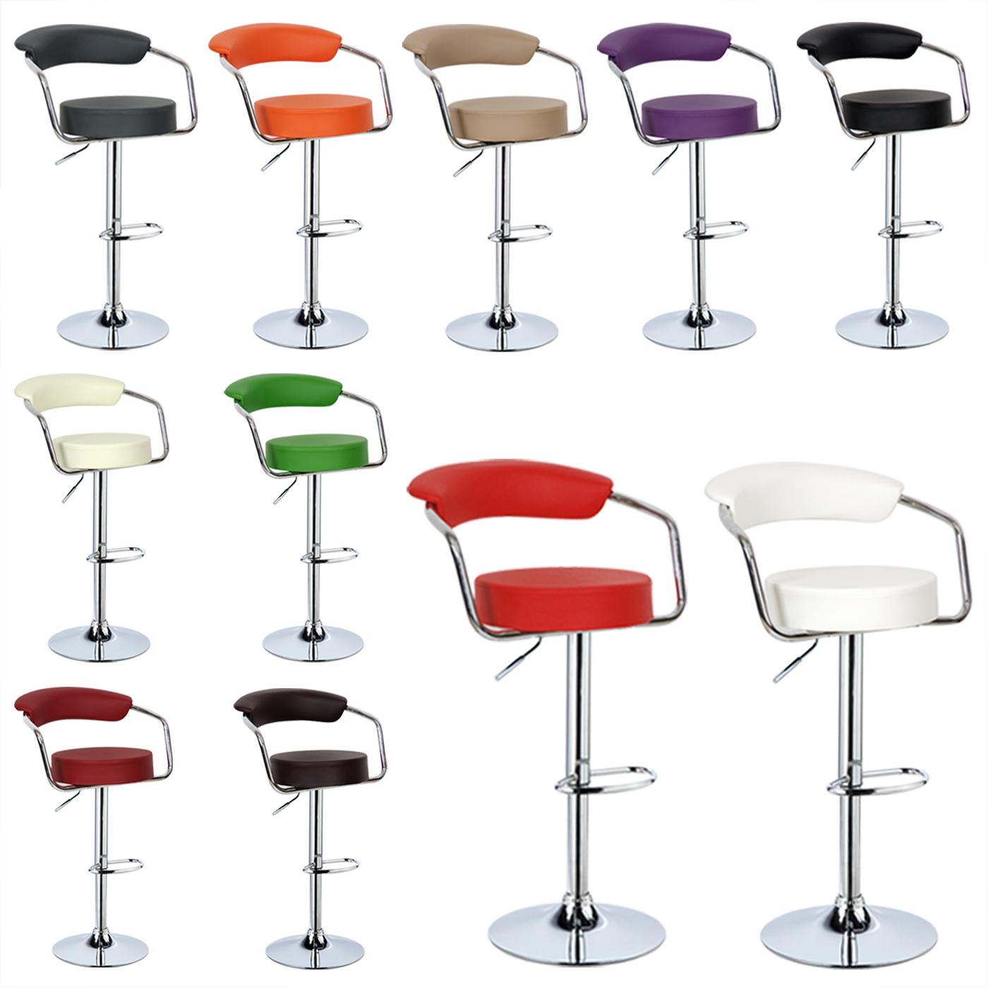 lot de 2 tabourets de bar pivotant r glable chaise de bureau avec dossier f052 ebay. Black Bedroom Furniture Sets. Home Design Ideas