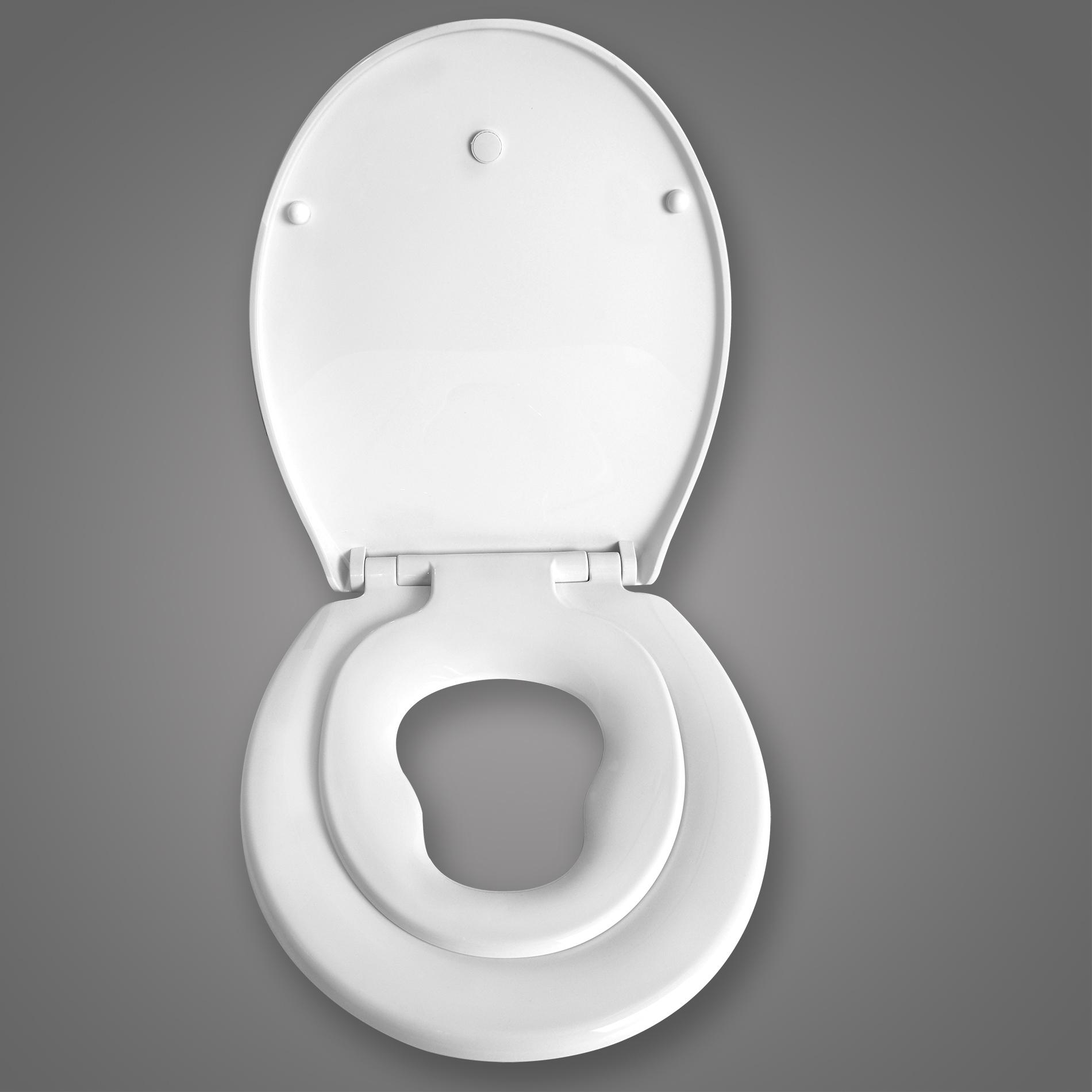 toilettensitz wc sitz toilettendeckel mit kindersitz absenkautomatik neu ws2601 ebay. Black Bedroom Furniture Sets. Home Design Ideas
