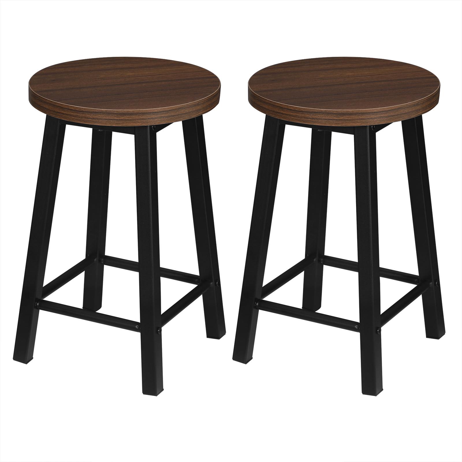 2 X Esszimmerstühle Küchenstühle aus Metall und Holz,Dunkelbuche BH297dc-2