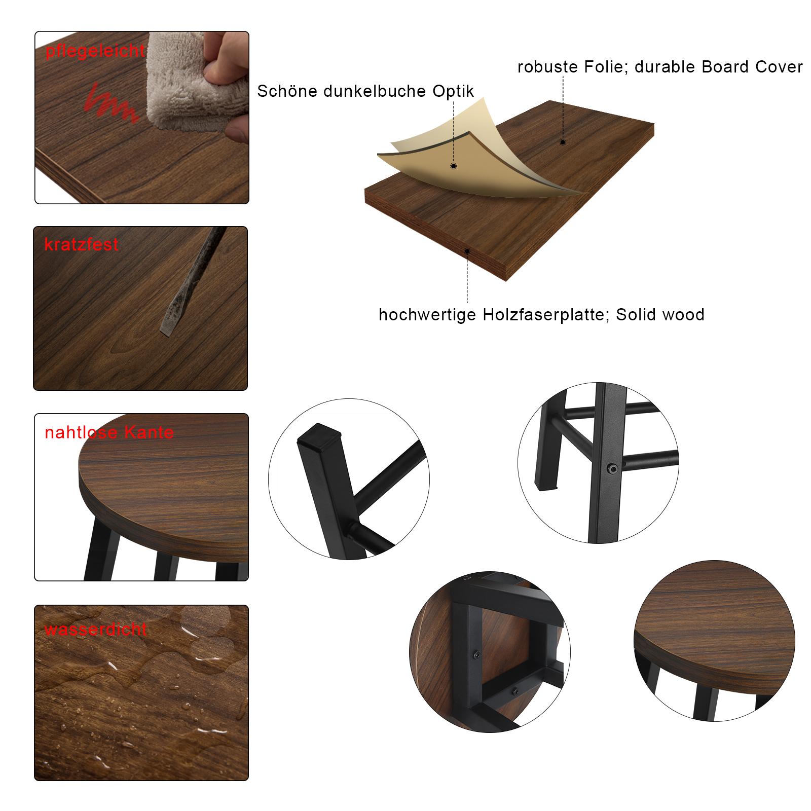 Indexbild 5 - 2 X Esszimmerstühle Küchenstühle aus Metall und Holz,Dunkelbuche BH297dc-2